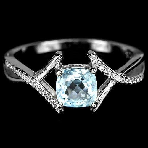 טבעת כסף משובצת טופז כחול וזרקונים RG8348 | תכשיטי כסף 925 | טבעות כסף