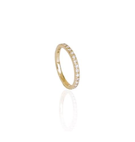 טבעת יהלומים משובצת - טבעת טניס יהלומים