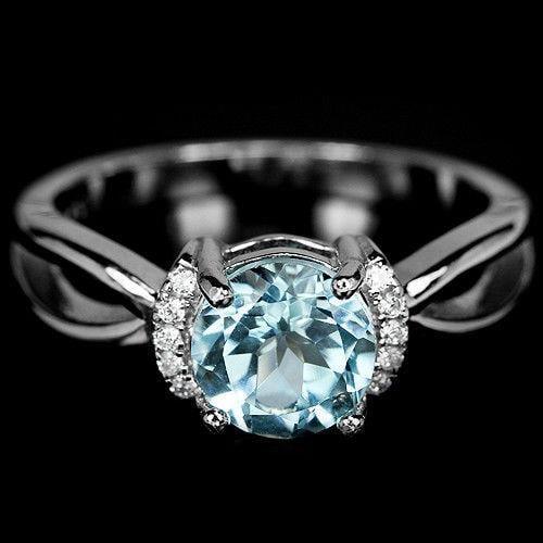 טבעת כסף משובצת טופז כחול וזרקונים RG8355 | תכשיטי כסף 925 | טבעות כסף