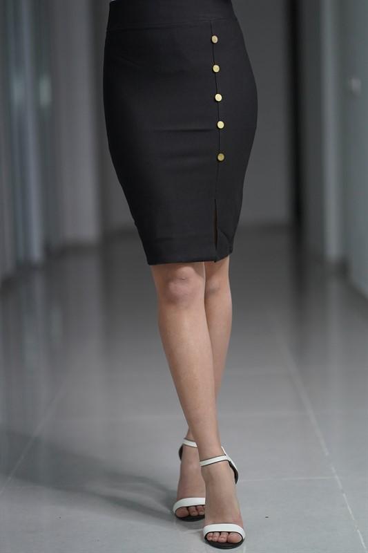 חצאית כפתורים מחטבת