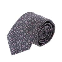 עניבה קלאסית פרחים אפור ורוד