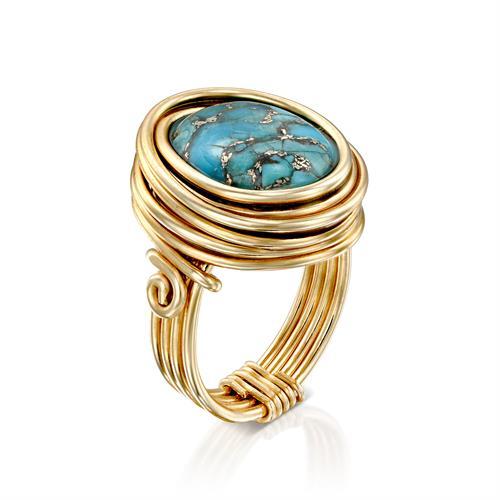 טבעת ריינבו טורקיז