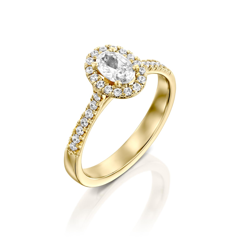 טבעת אירוסין זהב צהוב 14 קראט משובצת יהלומים OVAL HALOW