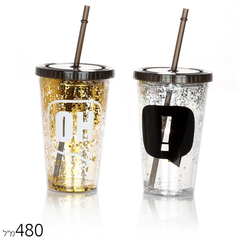 כוס קש גליטר OK