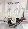 ברונזה - מעמד בקבוק יין מתכת עם כוסות
