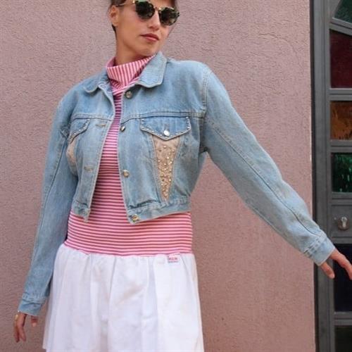 ג'קט ג'ינס ניטים משנות ה-90 מידה M/L