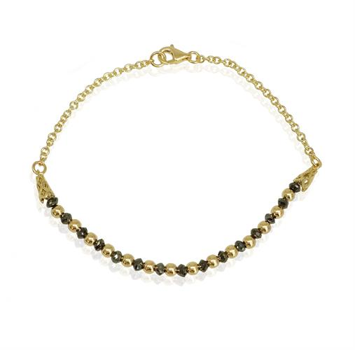 צמיד זהב ויהלומים שחורים לאישה