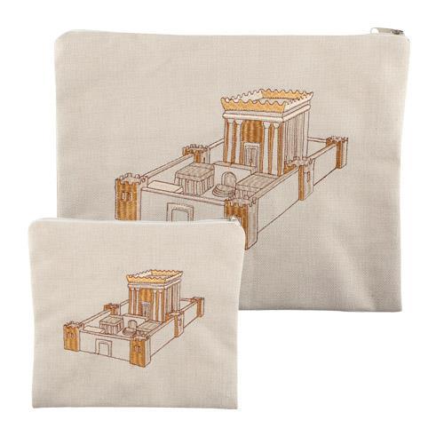 סט טלית תפילין פישתן בז' עם רקמה בית המקדש 29X35 סמ