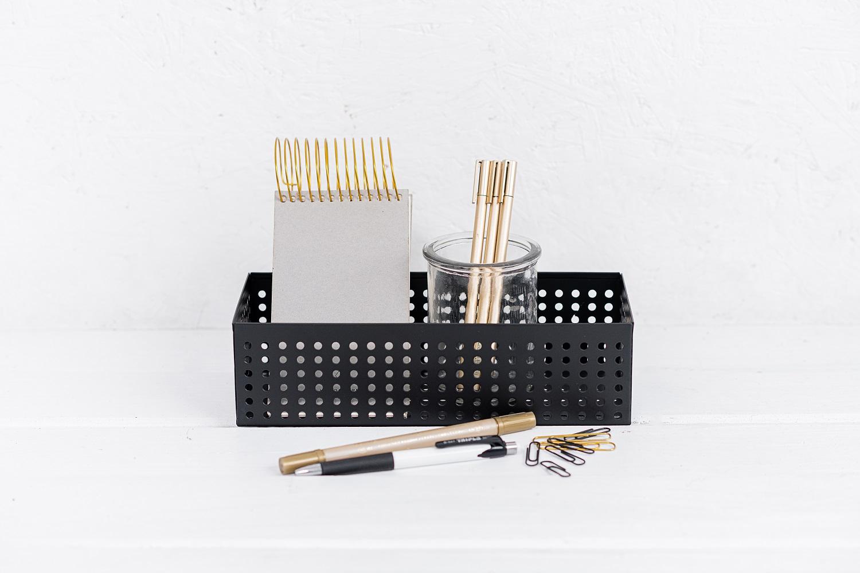 קופסה פתוחה / כלי ממתכת מלבן - שחור