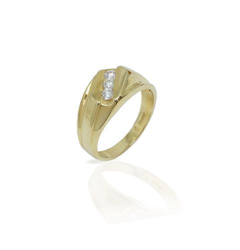 טבעת לגבר שלוש שורות זרקונים