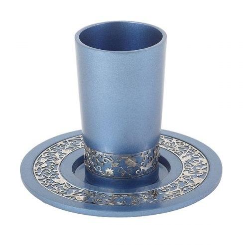 כוס קידוש + עיטור רימונים - כחול