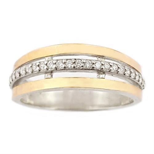טבעת כסף מצופה זהב 9K משובצת אבני זרקון  RG5944 | תכשיטי כסף | טבעות כסף