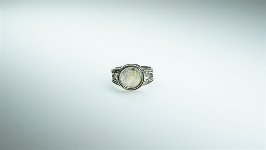 טבעת כסף סטרלינג מושחר עם זכוכית רומית