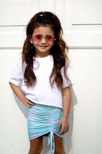 חצאית כיווצים MISS KIDS טורקיז - 2-16