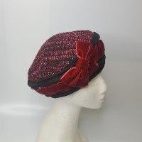 כובע מעוצב אלגנטי סרט קטיפה אדום בורדו