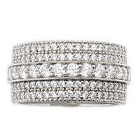 טבעת כסף רחבה משובצת 5 שורות  אבני זרקון  RG5952 | תכשיטי כסף | טבעות כסף