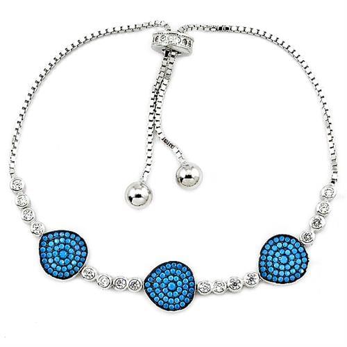 צמיד כסף משובץ אבני זרקון כחולות ולבנות Z2951 | תכשיטי כסף 925 | צמידי כסף