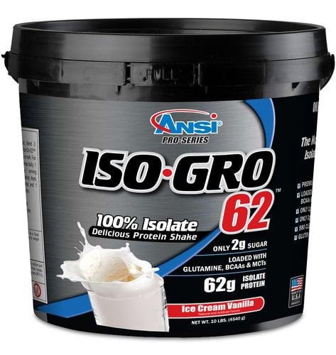 """אבקת חלבון אנסי איזו גרו 62 במשקל 4.54 ק""""ג Ansi Iso Gro"""