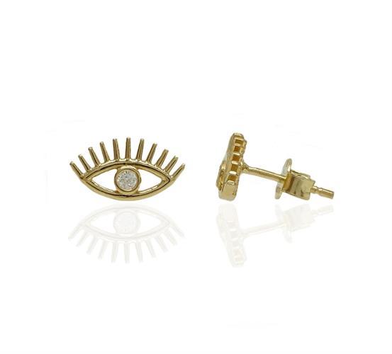 עגילי זהב עין הרע עם זרקון