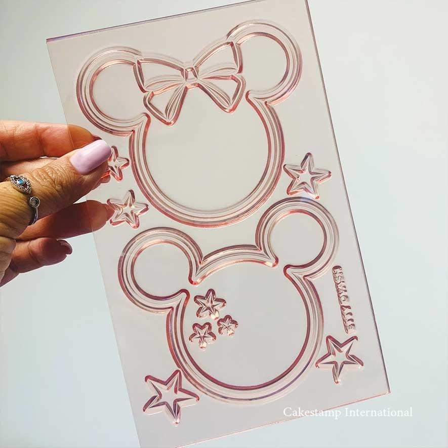 תבנית קישוט זוג עכברים  מיקי מאוס מיני מאוס ליצירה בשוקולד   תבנית מיקי ומיני עוגות מהאגדות  אתי דבש