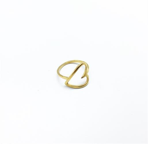 טבעת לב רטרו זהב