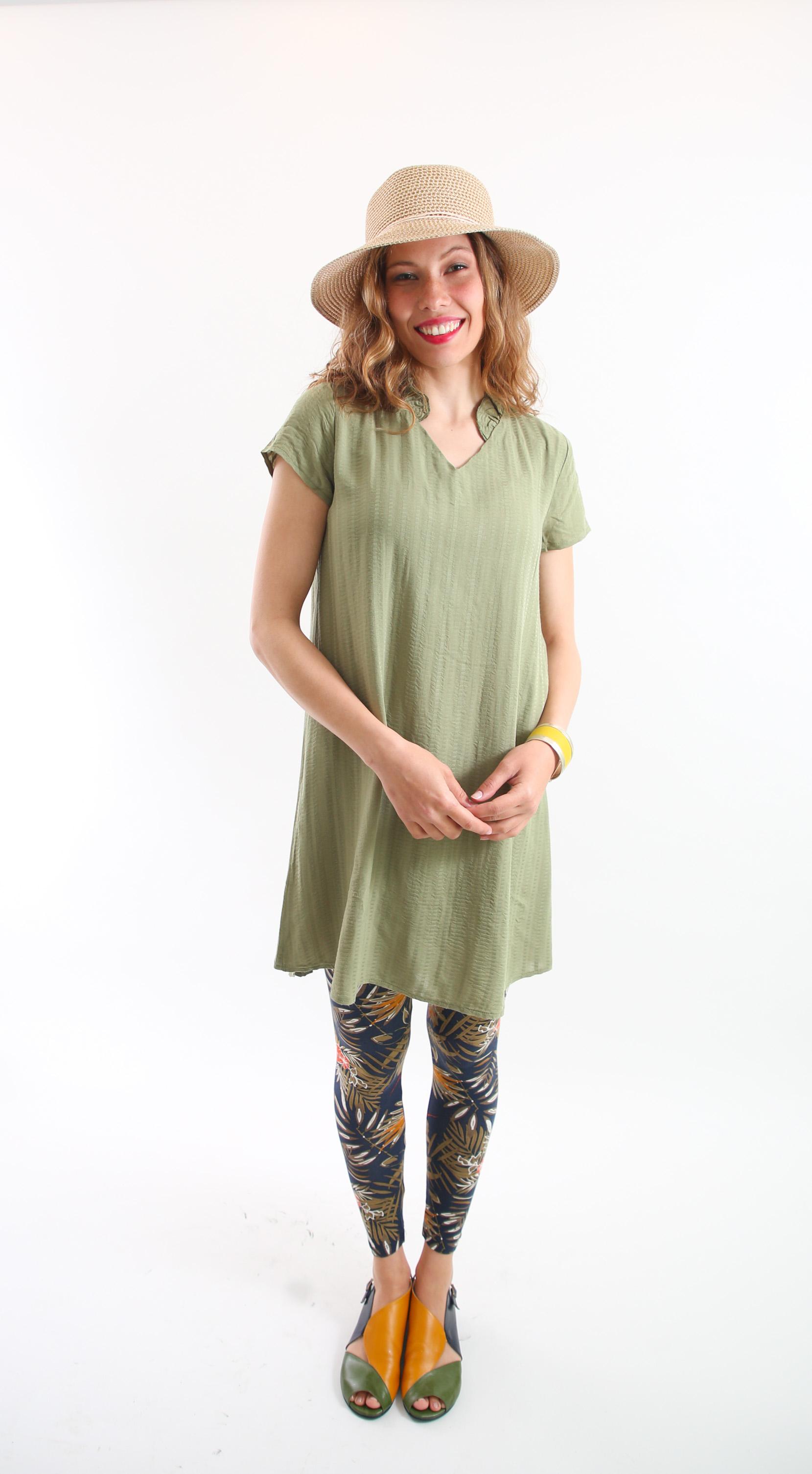 טוניקת וולאן ירוקה עם שרוול קצר
