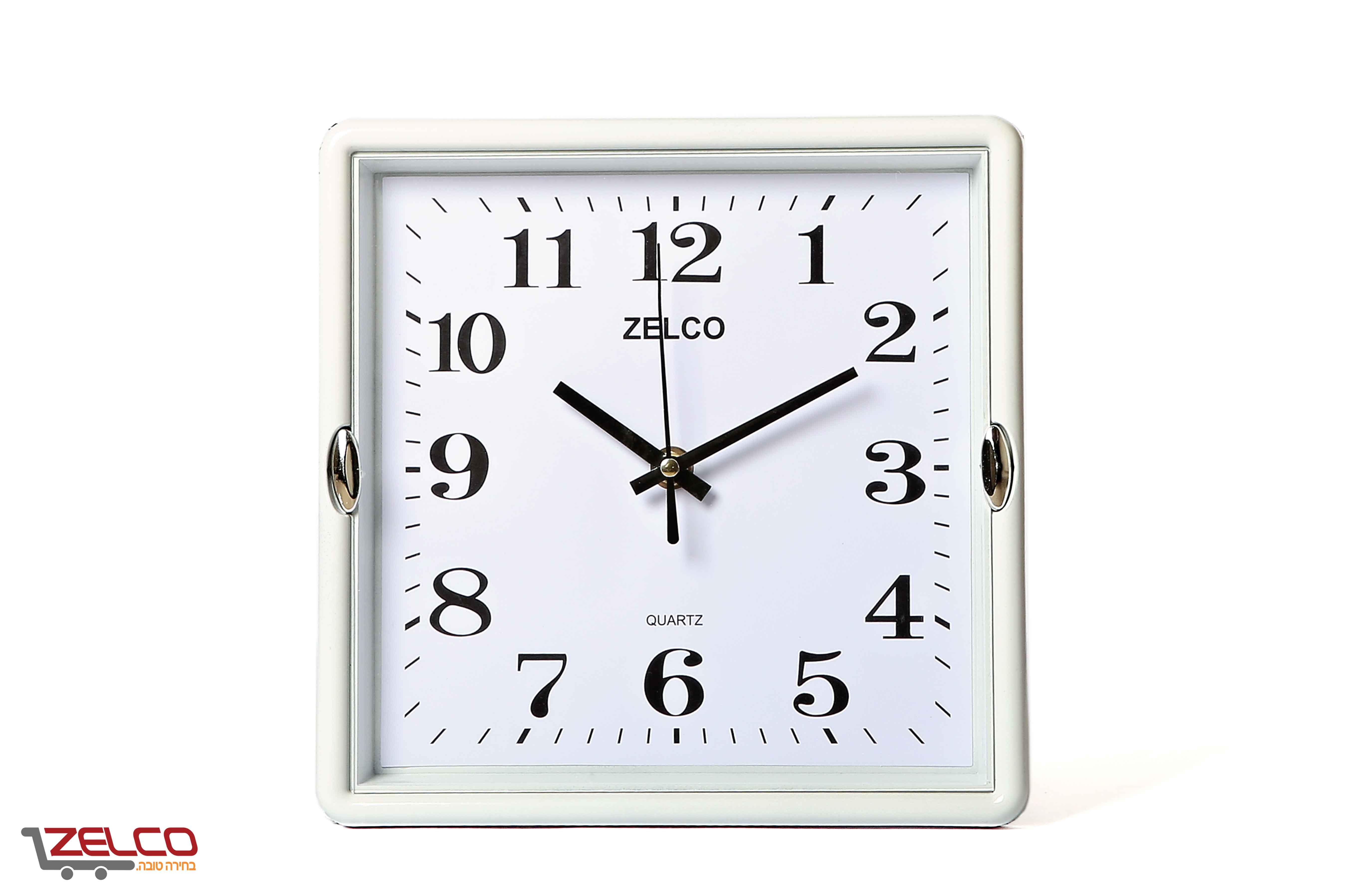 שעון קיר קטן מרובע לבן