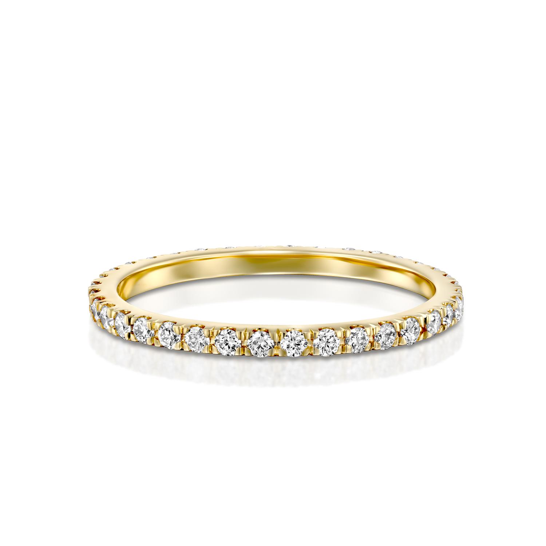 טבעת טניס זהב צהוב 14 קראט משובצת יהלומים