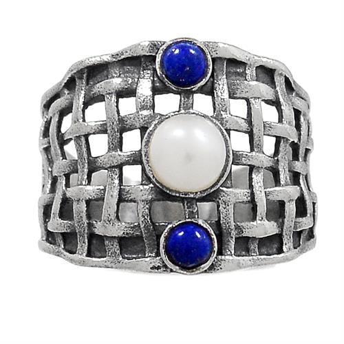 טבעת כסף משובצת פנינה ואבני לפיס לזולי  RG5896 | תכשיטי כסף 925 | טבעות כסף