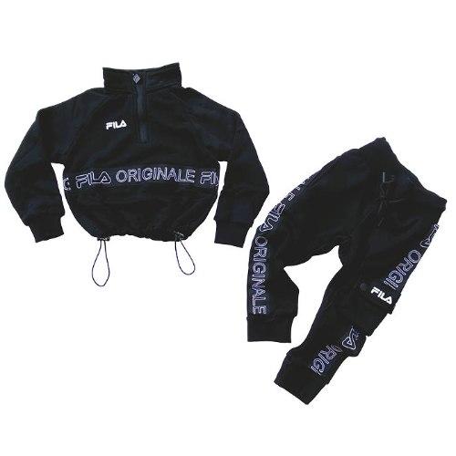 חליפת קרופ טופ עם גומי שחורה FILA בנות - מידות 2-8