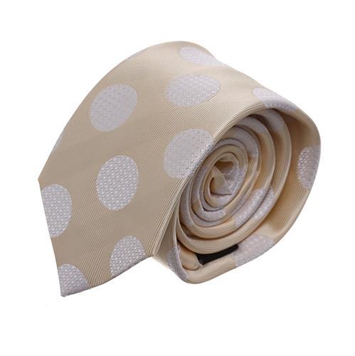 עניבה זהב לבן מנוקדת