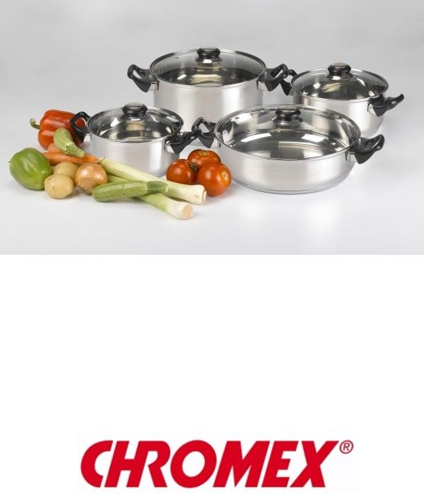 CHROMEX סט סירים נירוסטה 8 חלקים דגם CH-795