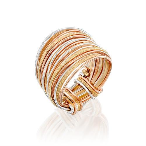 טבעת ספירלי צהוב אדום לבן