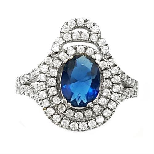 טבעת כסף משובצת אבן זרקון כחולה וזרקונים קטנים RG5652 | תכשיטי כסף 925 | טבעות כסף