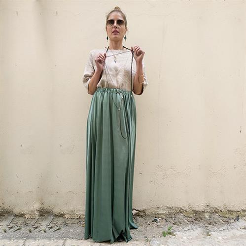 חצאית מקסי פויל ירוקה