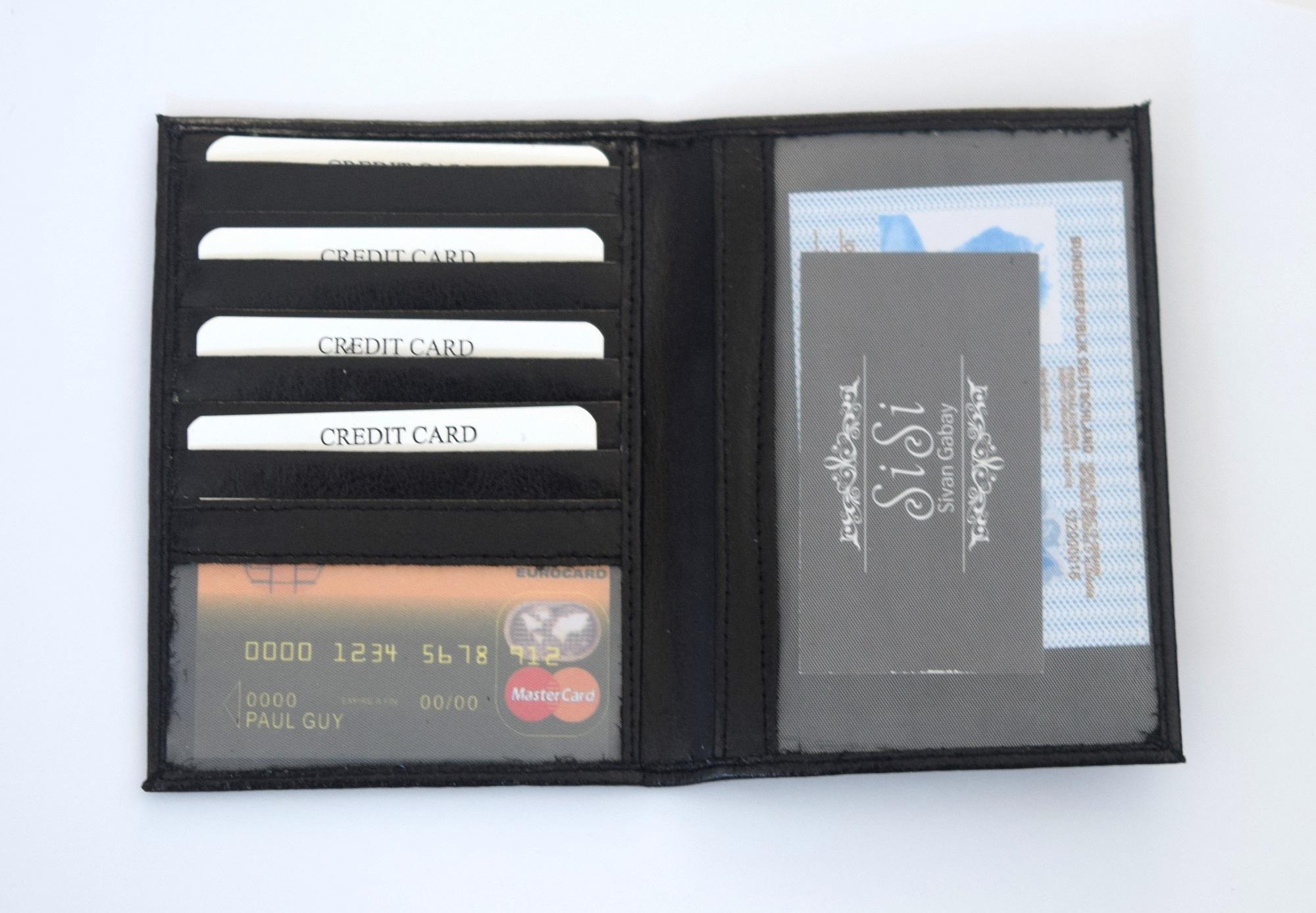 כיסוי עור לדרכון שחור