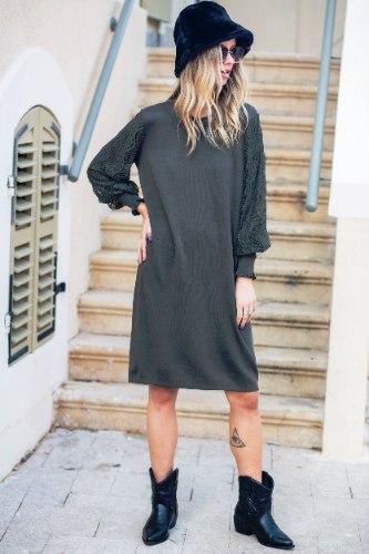 שמלה שילוב שרוול תחרה ירוק