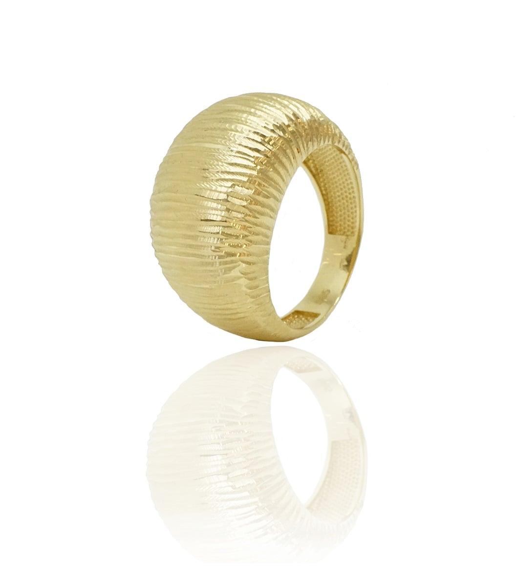 טבעת זהב לאישה (בומביי) רחבה, מלאת נוכחות ועשירה
