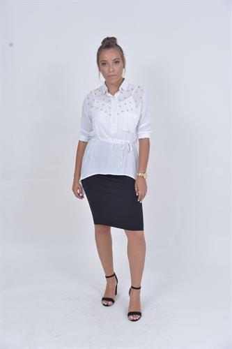 חולצת פנינים לבנה