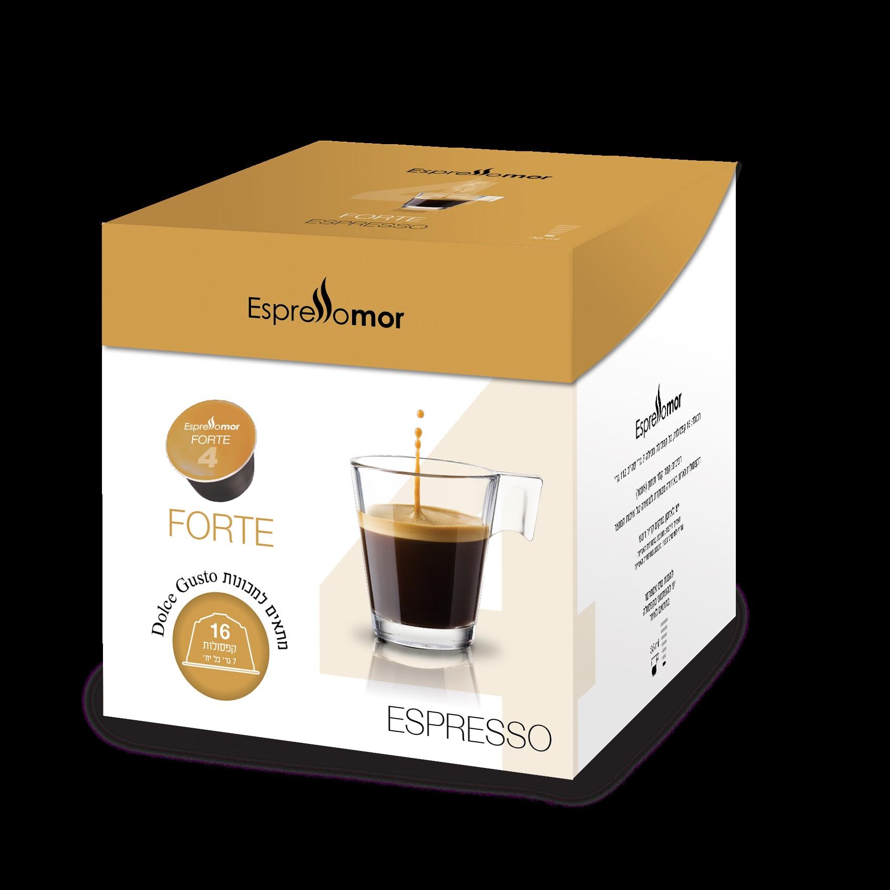 16 קפסולות תואמות דולצה גוסטו Espressomor Forte Dolce Gusto