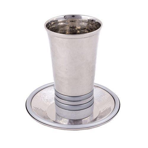 כוס קידוש - טבעות בולטות - כסוף