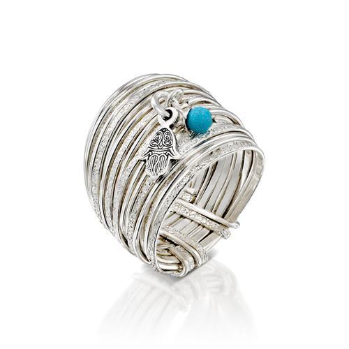 טבעת ספירלי חול לבן עם טיפת מזל