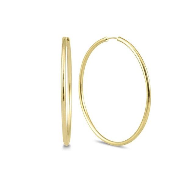 """עגילי חישוק חלקים זהב צהוב 5.5 ס""""מ גמישים 14 קראט"""