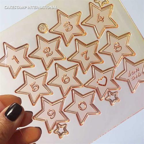 מספרים קטנים בכוכבים קטנים  תבנית ספרות 0-9  לקישוט קינוחים בעזרת צימקאו, שוקולד או בצק סוכר אתי דבש