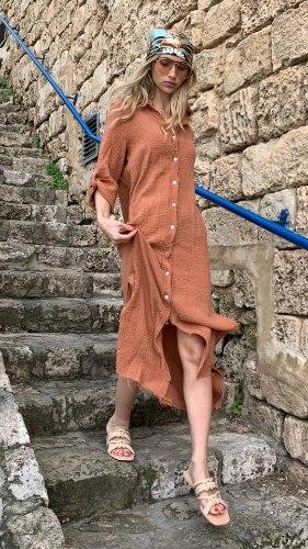 שמלת ווש כפתורים חמרה