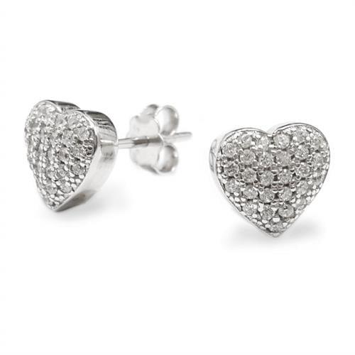 עגילי כסף בצורת לב משובצים אבני זרקון A8339 | תכשיטי כסף 925
