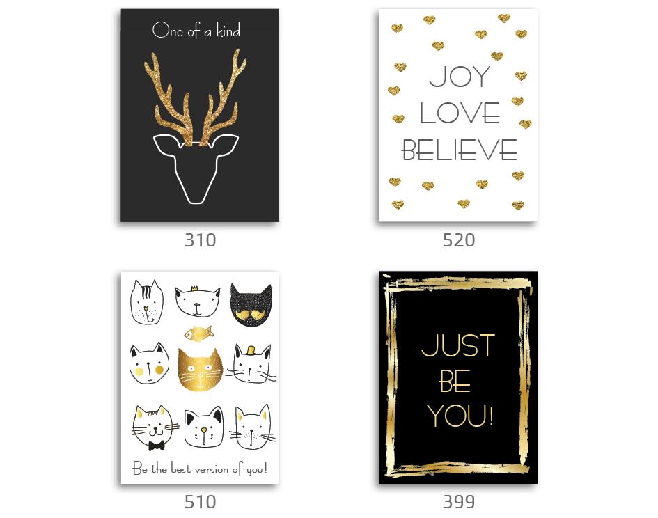 סט של 4 תמונות השראה מעוצבות לתינוקות, לסלון, חדר שינה, מטבח, ילדים - תמונות השראה שחור, לבן זהב