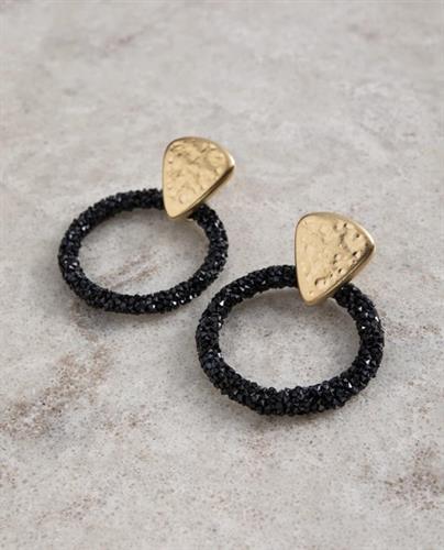 עגילי DANON - סגיטה זהב שחור