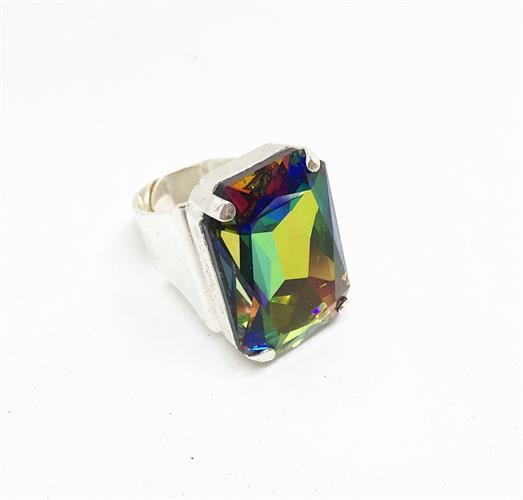 טבעת איריס אבן הולוגרפית כסף