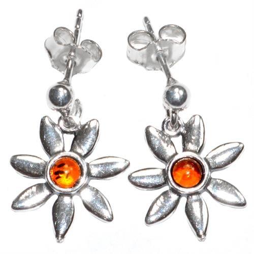 עגילי כסף מעוצבים פרחים משובצים ענבר A8148 | תכשיטי כסף | עגילי כסף